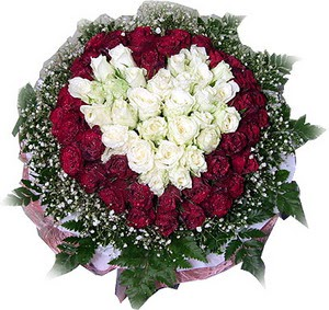Bolu çiçek mağazası , çiçekçi adresleri  27 adet kirmizi ve beyaz gül sepet içinde