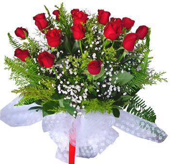 11 adet gösterisli kirmizi gül buketi  Bolu internetten çiçek satışı