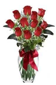 11 adet kirmizi gül vazo mika vazo içinde  Bolu 14 şubat sevgililer günü çiçek