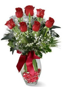 Bolu internetten çiçek siparişi  7 adet kirmizi gül cam vazo yada mika vazoda