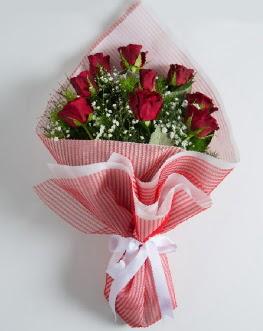 9 adet kırmızı gülden buket  Bolu çiçek satışı