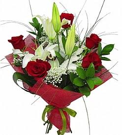 1 dal kazablanka 5 kırmızı gül buketi  Bolu kaliteli taze ve ucuz çiçekler