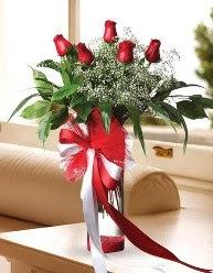 Camda 5 kırmızı gül tanzimi  Bolu çiçekçi telefonları