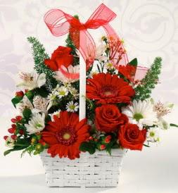 Karışık rengarenk mevsim çiçek sepeti  Bolu internetten çiçek siparişi