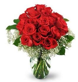 25 adet kırmızı gül cam vazoda  Bolu çiçek , çiçekçi , çiçekçilik