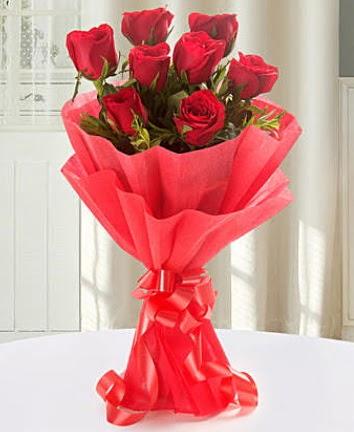 9 adet kırmızı gülden modern buket  Bolu İnternetten çiçek siparişi