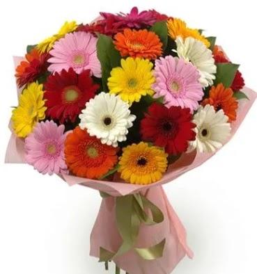 Karışık büyük boy gerbera çiçek buketi  Bolu çiçek satışı