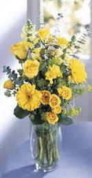Bolu online çiçek gönderme sipariş  sari güller ve gerbera cam yada mika vazo