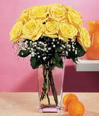 Bolu internetten çiçek satışı  9 adet sari güllerden cam yada mika vazo