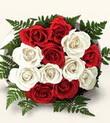 Bolu çiçek , çiçekçi , çiçekçilik  10 adet kirmizi beyaz güller - anneler günü için ideal seçimdir -