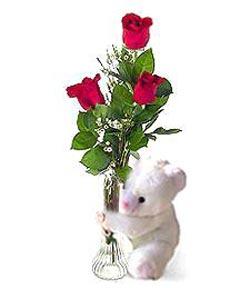 oyuncak ve 3 adet gül  Bolu çiçek siparişi sitesi