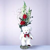 2 adet gül ve panda özel  Bolu çiçekçi mağazası