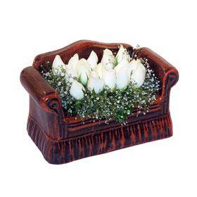 seramik içerisinde 11 gül  Bolu hediye çiçek yolla