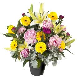 karisik mevsim çiçeklerinden vazo tanzimi  Bolu uluslararası çiçek gönderme