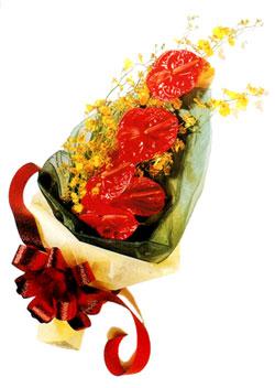 özel 5 adet antorium buketi   Bolu çiçek gönderme sitemiz güvenlidir