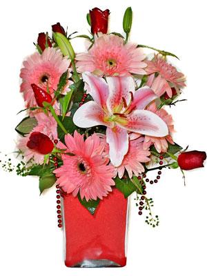 Bolu cicek , cicekci  karisik cam yada mika vazoda mevsim çiçekleri mevsim demeti