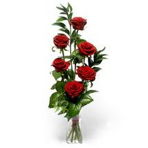 Bolu çiçek siparişi sitesi  cam yada mika vazo içerisinde 6 adet kirmizi gül