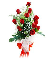 11 adet kirmizi güllerden görsel sölen buket  Bolu çiçek siparişi vermek