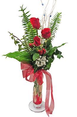Çiçek gönderin cam vazoda 3 gül çiçekleri  Bolu çiçek siparişi sitesi