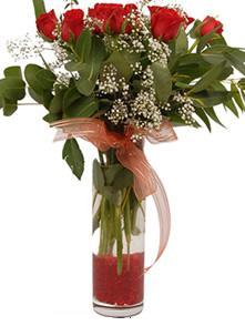 Bolu uluslararası çiçek gönderme  11 adet kirmizi gül vazo çiçegi