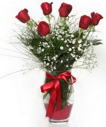 7 adet gülden cam içerisinde güller  Bolu 14 şubat sevgililer günü çiçek