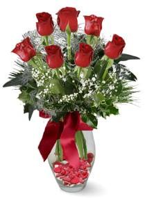 7 adet vazoda gül  Bolu internetten çiçek satışı  kirmizi gül