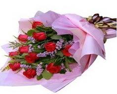 11 adet kirmizi güllerden görsel buket  Bolu çiçek gönderme sitemiz güvenlidir