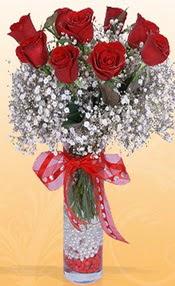 9 adet kirmizi gül cam yada mika vazoda  Bolu çiçek mağazası , çiçekçi adresleri