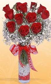 10 adet kirmizi gülden vazo tanzimi  Bolu çiçek siparişi sitesi