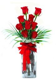 Bolu çiçekçi telefonları  9 adet mika yada cam vazoda gül tanzimi