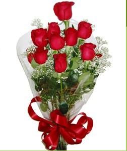 Bolu uluslararası çiçek gönderme  10 adet kırmızı gülden görsel buket