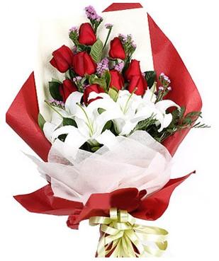 Bolu çiçekçiler  1 dal kazablankaa 9 adet kırmızı gül buketi