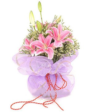 3 dal kazablanka görsel buketi  Bolu internetten çiçek satışı
