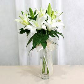 Bolu anneler günü çiçek yolla  2 dal kazablanka ile yapılmış vazo çiçeği