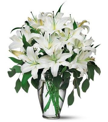 Bolu internetten çiçek satışı  4 dal kazablanka ile görsel vazo tanzimi