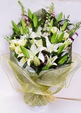 Bolu çiçek servisi , çiçekçi adresleri  3 adet kazablankalardan görsel buket çiçeği
