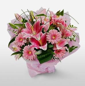1 dal kazablanka ve kır çiçek görsel buketi  Bolu internetten çiçek satışı