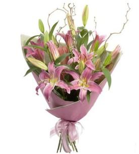 Bolu İnternetten çiçek siparişi  3 dal cazablanca buket çiçeği
