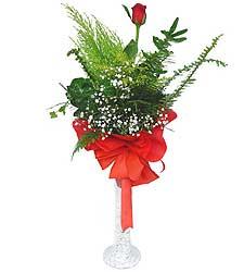 Bolu anneler günü çiçek yolla  Cam vazoda masum tek gül