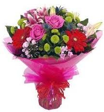 Karışık mevsim çiçekleri demeti  Bolu online çiçek gönderme sipariş