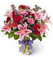 Vazo içerisinde karışık mevsim çiçeği  Bolu çiçek siparişi sitesi