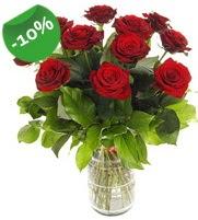11 adet vazo içerisinde kırmızı gül  Bolu online çiçek gönderme sipariş