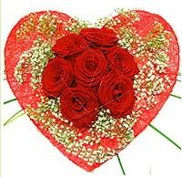 Mika kalp içerisinde 7 adet kırmızı gül  Bolu çiçekçi mağazası