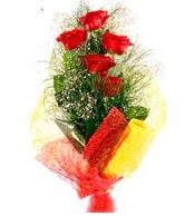5 li kırmızı gül buketi  Bolu internetten çiçek satışı