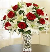 12 adet kırmızı gül 2 dal kazablanka vazosu  Bolu çiçek satışı