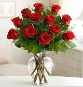 Vazo içerisinde 12 kırmızı gül  Bolu çiçek satışı