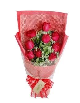 9 adet kırmızı gülden görsel buket  Bolu ucuz çiçek gönder