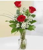 Vazo içerisinde 3 adet kırmızı gül  Bolu çiçek satışı