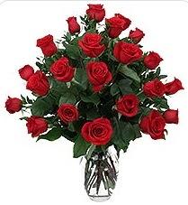 Bolu çiçek siparişi sitesi  24 adet kırmızı gülden vazo tanzimi