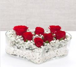 kalp içerisinde 7 adet kırmızı gül  Bolu çiçek siparişi vermek